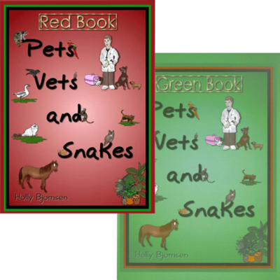 Pets, Vets and Snakes, Red and Green Book by Holly Bjornsen